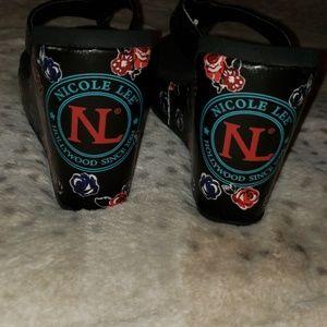 NEW NICOLE LEE BLACK SEQUIN FRENCH BULLDOG WEDGE NWT